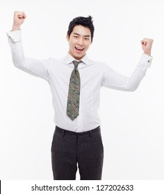 Successful business man isolated on white background.