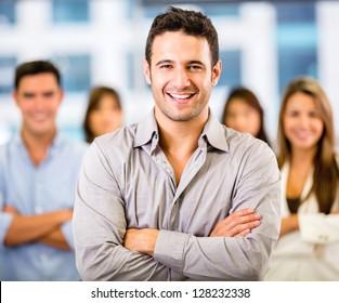 Successful business man leading a corporate team