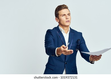 successful business man on a light background
