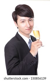 Successful business man toasting with Champagne isolated on white background, asian male model