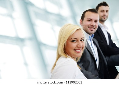 Successful business people indoor with copy space
