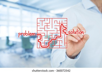 Successful business solution for your business problems. Visual metaphor of solving problems, office in background.