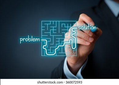 Successful business solution for your business problems. Visual metaphor of solving problems.