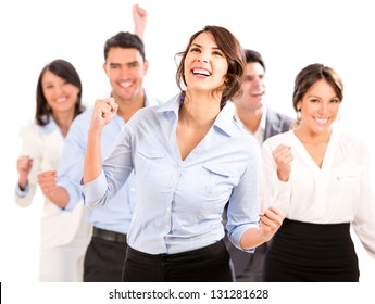 Successful business team celebrating with arms up - isolated over white
