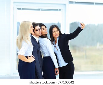 successful business team on office background