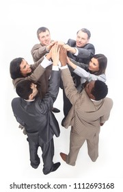 successful business team raising hands together up