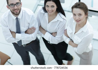 successful business team standing near workplace