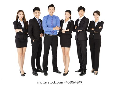 successful business team standing on white background