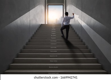 successful business way, how to success and be achievement and focus to goal concept, young businessman stroke and draw arrow up to develop working life to leader, climbing stairs to get top of city