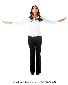 Successful business woman with arms opened isolated over a white background