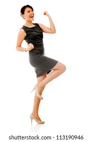 Successful business woman celebrating - isolated over a white background