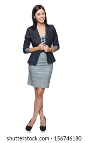 Successful business woman in full length, isolated over white