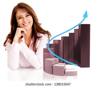 Successful business woman with a growth graph - isolated over white