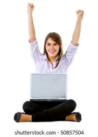 Successful business woman with a laptop isolated over a white background