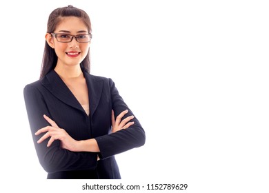 Successful business woman portrait. Young beautiful chinese girl pose with arms crossed. isolated over white background. Half body shot.
