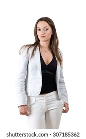 Successful business woman in a white suit