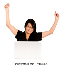 Successful business woman working on a laptop computer ? isolated