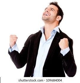 Successful businessman celebrating - isolated over a white background