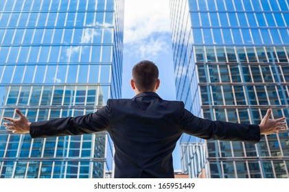 Successful businessman in the city