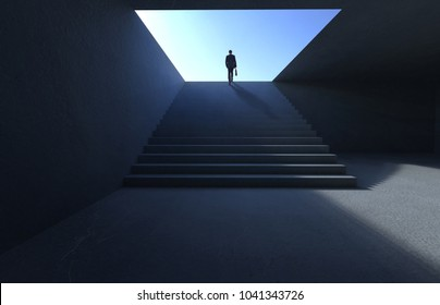 Successful businessman climbing on stair , ambitions concept .