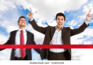 Successful businessman crossing the line