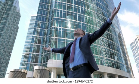 Successful Businessman feeling Excited and Free