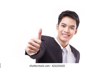 successful businessman giving thumb up, with text space