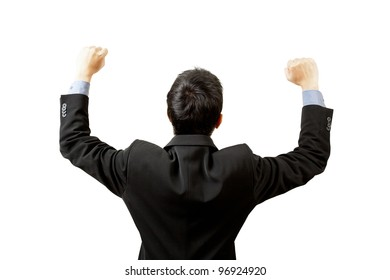 successful businessman hands up on white background