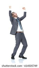 Successful businessman. Happy young man in formalwear gesturing