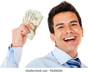 Successful businessman holding dollars - isolated over a white background