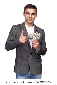 Successful Businessman Holding Money And Showing Thumb Up