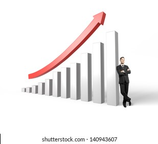 successful businessman leaning on success graph with a red arrow