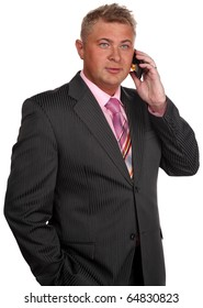 Successful businessman with phone on white