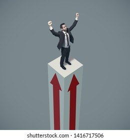 Successful businessman standing a on a growing financial chart, he is celebrating with raised fists