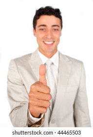 Successful businessman with thumb up isolated on a white background