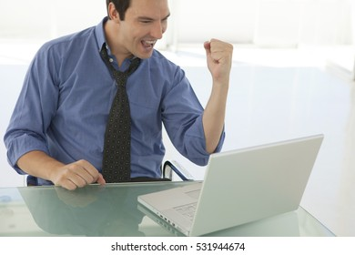 Successful Businessman wearing a blue shirt looking at computer