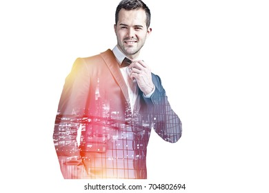 Successful businessman wearing bow tie double exposure isolated on white