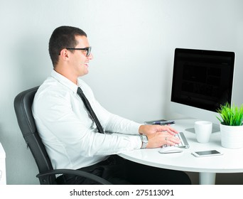 successful businessman working a the office