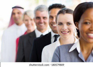 successful businesswoman with group of business people