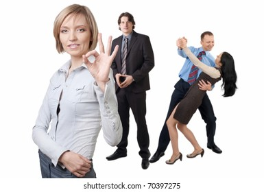 Successful businesswoman and her colleagues posing over white background