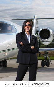 Successful businesswoman with jet