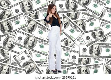 Successful businesswoman over dollar background.
