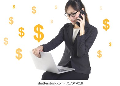 Successful businesswoman smile and very happy because success in the new project on white dollar background.