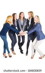 Successful businesswoman team holding hands, studio shot on white background