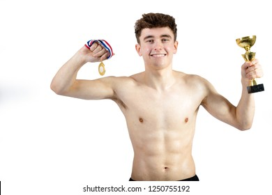 Successful caucasian young adult swimmer isolated on white background with award