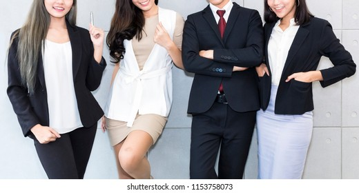 Successful company with happy multiracial business team office worker.Copy space.