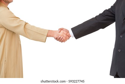 Successful concept ,Arabic business people shaking hands business man,isolate on white.