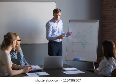 Successful confident business coach, company ceo or team leader presenting project results explaining graph on flipchart at training giving presentation to colleagues reporting about work at meeting