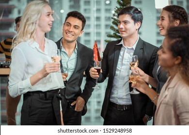 Successful Corporate Celebrations, Professional Management Teams. Champagne, A Happy Party, Club DJ team. Cooperative, employees. Motivating office workers. Event, Thank you Party.