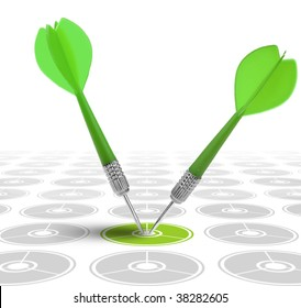 successful dart reaching the green goal, symbol of good solution